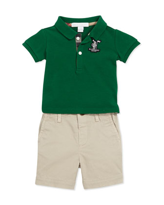 Check-Trim Polo, Dark Green, 3M-3Y