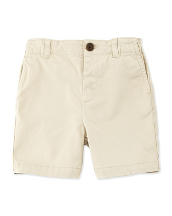 Stretch-Cotton Shorts, Stone, Size 3M-3Y