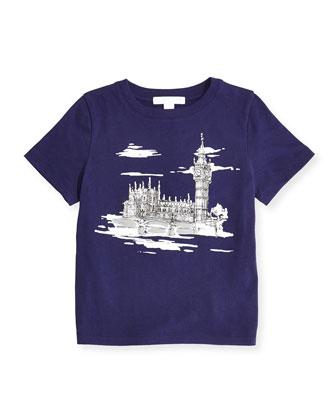 Short-Sleeve London-Sketch Tee, Regency, 4Y-14Y
