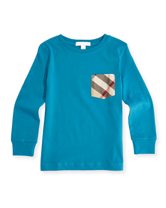 Long-Sleeve Check-Pocket Tee, Bright Turquoise, 4Y-14Y