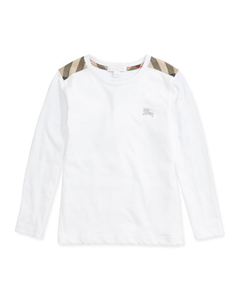 Check-Shoulder Long-Sleeve Tee, White, 4Y-14Y