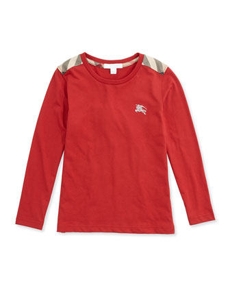 Check-Shoulder Long-Sleeve Tee, Military Red, 4Y-14Y