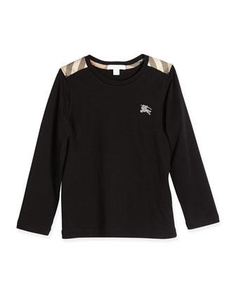 Check-Shoulder Long-Sleeve Tee, Black, 4Y-14Y