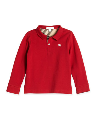 Check-Trim Long-Sleeve Polo, Military Red,