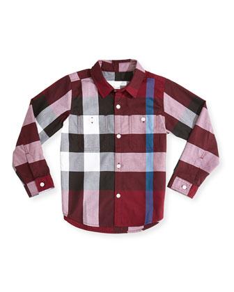 Check Two-Pocket Shirt, Dark Plum, 4Y-14Y