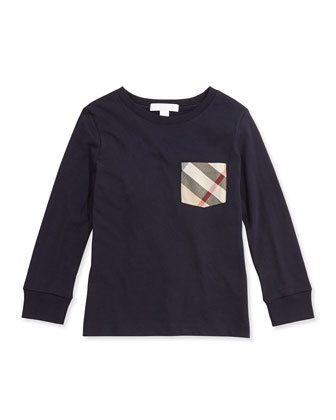 Long-Sleeve Check-Pocket Tee, True Navy, 4Y-14Y