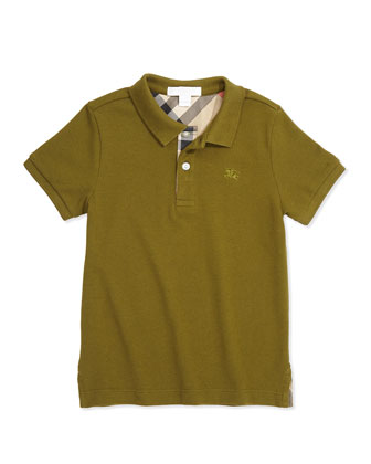 Check-Placket Polo, Dark Lime, Boys' 4Y-14Y