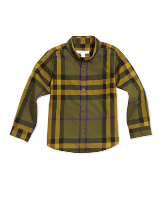 Check Button-Down Shirt, Olive, 4Y-14Y