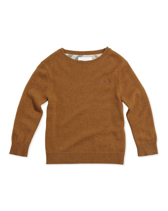 Check Elbow-Patch Sweater, Mid Camel, 4Y-14Y