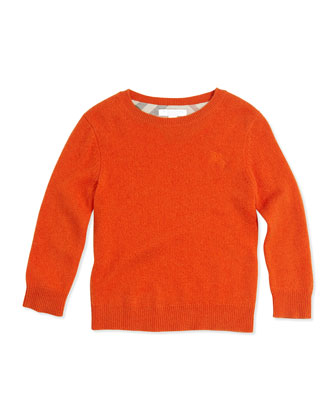 Check Elbow-Patch Sweater, Bright Clementine, 4Y-14Y