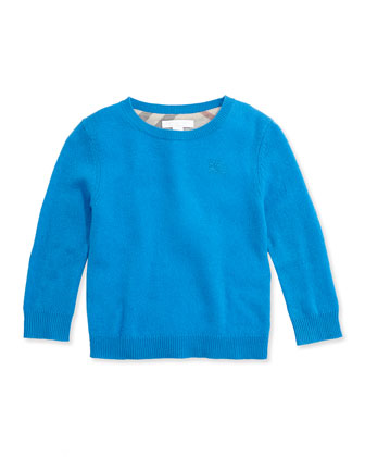 Check Elbow-Patch Sweater, Cerulean Blue