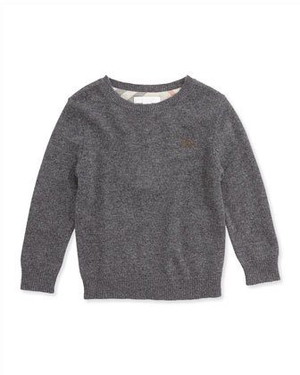 Check Elbow-Patch Sweater, Mid Gray Melange, 4Y-14Y