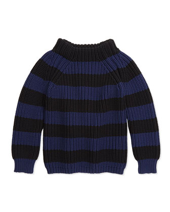 Wide-Stripe Knit Sweater, Navy/Black, 4Y-14Y