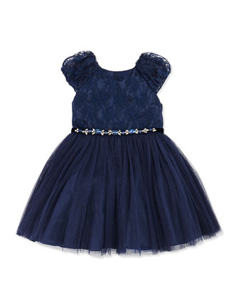 Tulle Belted Dress, Navy, Girls' Sizes 2-10