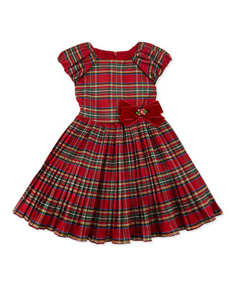 Tartan Plaid Party Dress, Red, Sizes 2-10