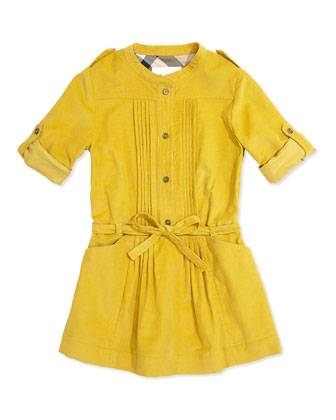 Pleated Corduroy Dress, Lemon Quartz, 4Y-14Y