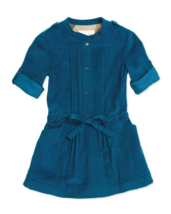 Pleated Corduroy Dress, Dark Tuquoise, 4Y-14Y