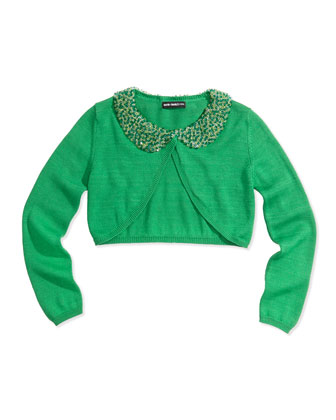 Beaded Collar Cropped Cardigan, Green, Girls' Sizes 2-12