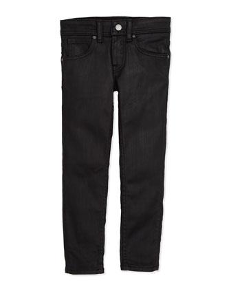 Waxed Skinny Jeans, Black, Girls' 4Y-10Y