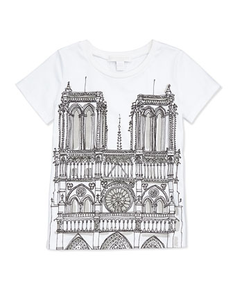 Tee with Notre Dame Cathedral Sketch, Girls' 4Y-14Y