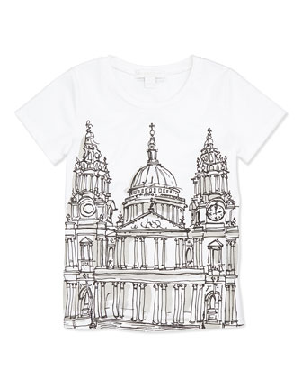 London Cathedral Sketch Tee, White, Girls' 4Y-14Y