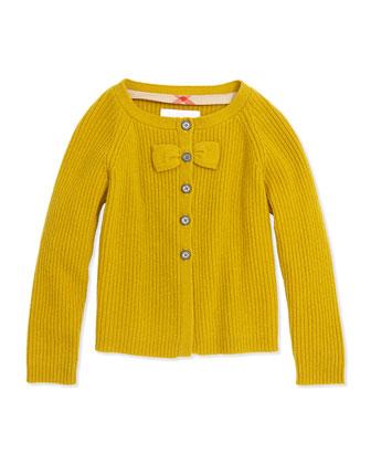 Cashmere Cardigan with Bow, Yellow Quartz, 4Y-14Y