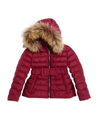 Fur-Trimmed Bow-Belt Puffer Coat, Fritillary Pink, 4Y-14Y
