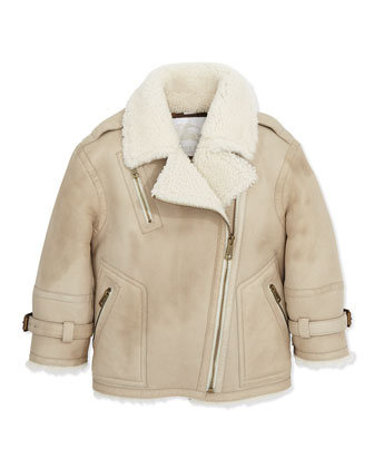 Shearling Leather Biker Jacket, 6Y-10Y