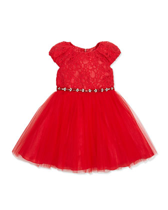 Lace and Tulle Dress, Red, Girls' Sizes 2-10