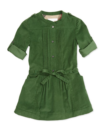 Pleated Corduroy Dress, Grass Green, 4Y-14Y