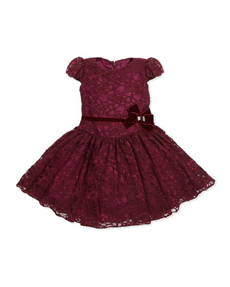 Drop-Waist Lace Dress, Wine, Girls' Sizes 2-10