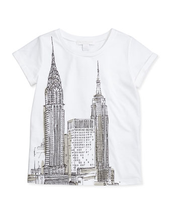 New York-Sketch Tee, White, 4Y-14Y