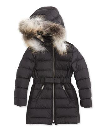 Long Puffer Coat with Fur-Trim, Black, 4Y-14Y