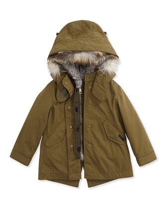 Fur Lined Parka, Olive, 4Y-14Y