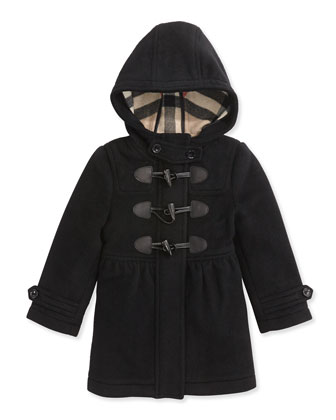 Girls' Toggle Coat with Hood, Black, 4Y-14Y