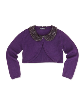 Beaded Collar Cardigan, Purple