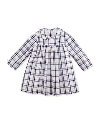 Ginny Plaid Dress, White/Navy, 3-24 Months
