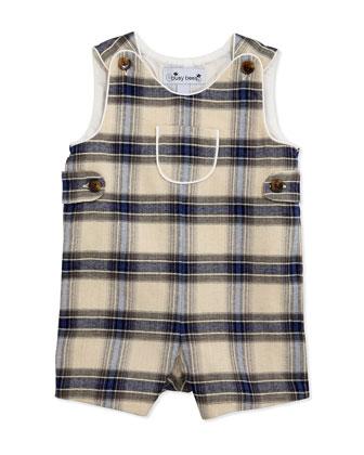 Jack Classic Plaid Short Overalls & Peter Pan Collar Shirt