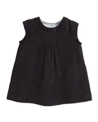 Newborn Corduroy Dress with Bloomers, Black, 3-24 Months