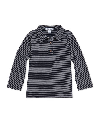 Mini Striped Long-Sleeve Polo, Navy, 3M-12Y