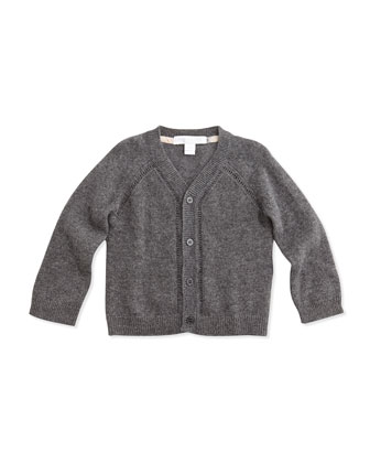 Cashmere Cardigan Sweater, Mid Gray Melange, 3-24 Months