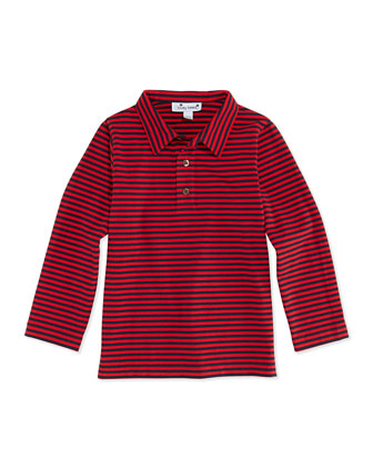 Striped Long-Sleeve Polo, Red/Navy, 3M-12Y