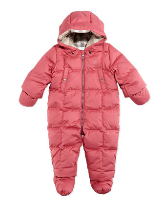 Down/Feather Puffer Snowsuit, Pink, 3-18 Months
