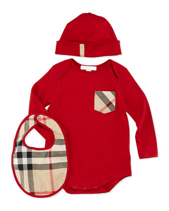 Playsuit, Hat, and Bib Set, Military Red