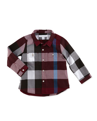 Check Two-Pocket Shirt, Dark Plum, 3M-3Y