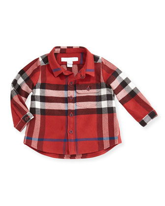 Check Flannel Button-Down Shirt, Red, 3M-3Y