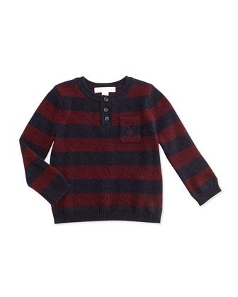 Cashmere Striped Henley Sweater, Deep Claret, 3M-3Y