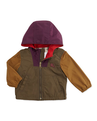 Colorblock Lightweight Tech-Fabric Jacket, Khaki Multi, 6M-3Y