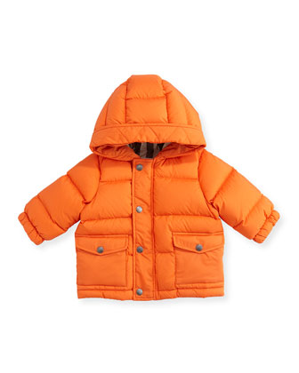 Hooded Puffer Jacket, Bright Clementine, 6M-3Y