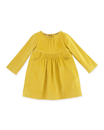 Short-Sleeve Corduroy Dress, Lemon Quartz, 3M-2Y